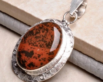 Beautiful Black / Red Obsidian Silver Pendant Perfect Gift