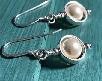 Swarovski Pearl and Sterling Silver Earrings, Pearl Earrings, Sterling Silver Earrings, Swarovski Earrings, Handmade