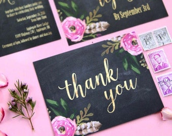 Thank You Card Set | Set of 4, 10, 25 or 50 | Chalkboard Floral Card | Matte Faux Gold Foil Card | Wedding Thank You Card Pack | Floral Card