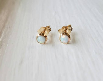 Opale Stud boucles d'oreilles 14k or