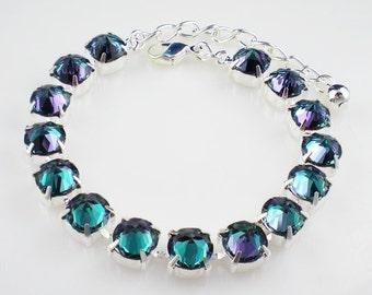 Violet Teal Aqua Rhinestone Bracelet Swarovski Blue Lagoon Reverse Set Wedding Jewelry Bridesmaid