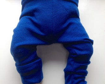 3-12 Months Convertible Footed Longies - Wool Diaper Cover Pants - Grow-with-me Longies.  Pink, Blue or Red