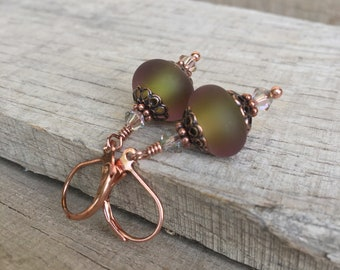 Olive garnish matte etched handmade lampwork earrings with swarovski crystal and copper