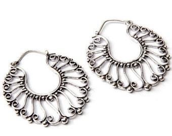 White Brass Swirl Design Hoop Earrings Tribal Earrings Tribal Jewlry Free UK Delivery WB17 WHP1