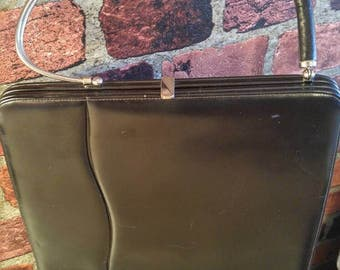 Vintage 1950's 1960's Purse TARKOR Bag Black Leather Handbag.  Wowwww!!!!!*