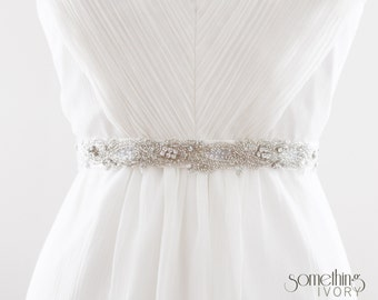 KALEIGH - Rhinestone Beaded Bridal Sash, Wedding Belt