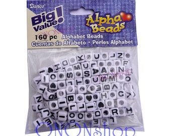 160 Alpha Beads, White letter beads, Cube letter beads, Darice Alpha Beads, Alphabet beads, 6mm alpha beads, 6mm letter beads, 082676662379