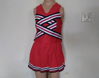 Red Black White Cheerleader Uniform Football Game Christmas Holiday Costume