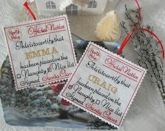 Hanging Christmas tree decoration santa list naughty or nice personalised
