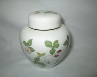 Vintage Wedgwood Ginger Jar with Lid Strawberry pattern with flowers fine bone china England