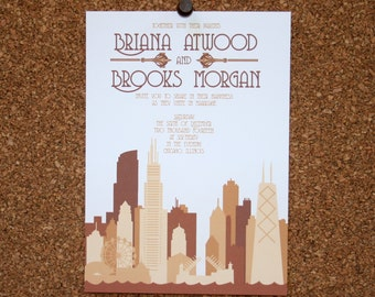 Set of 25 / Custom Chicago Skyline Invitation / Tan, Taupe, Neutral / Wedding / Event / Birthday / Bachelorette Party