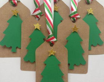 Christmas tree party favor tags - Kraft paper /Christmas tree gift tags - Kraft paper