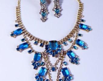 ON SALE Husar D Czech Ice Blue Glass Necklace Clip Earring Set