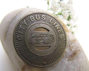 City Bus Lines Token, Lexington NC Bus Token, Lexington North Carolina, Bus Token