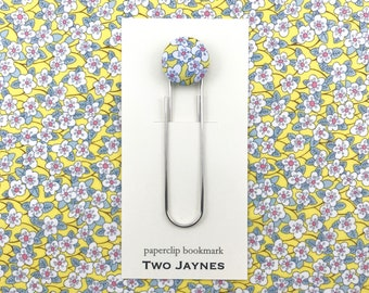 Spring Paperclip Bookmark - LIBERTY Tana Lawn Ffion Yellow Fabric Button
