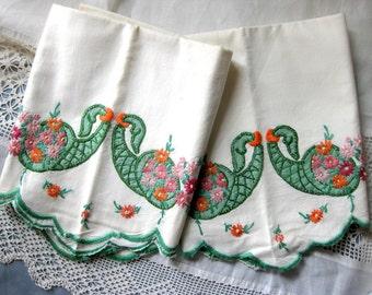 Gorgeous Vintage Embroidered Cotton Pillow Cases, Green Cornucopias with Bright Flowers