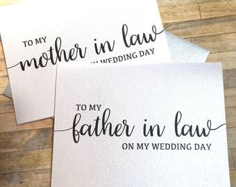 to my mother in law on my wedding day card - wedding day card for mom - mother in law - father in law card - new mom and dad - BLACK TIE