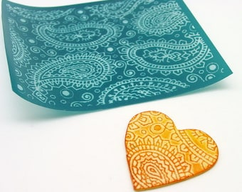 Beadcomber Silk Screen - Paisley Silkscreen for Polymer clay, flat surfaces such as metal, Paper Crafts and DIY
