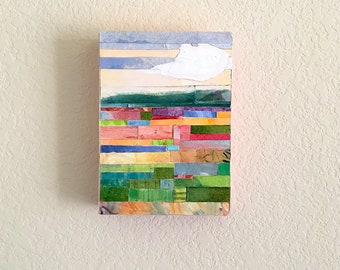Summer Collage- 5x7x1.5- Woodblock- Original Mixed Media- Colorful Landscape- Paper Mosaic