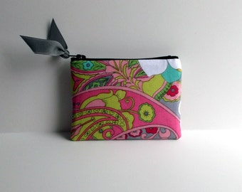 Pink Floral with jade green dot Print Coin Purse or Business card holder
