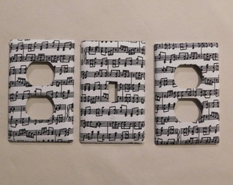 Music Notes Light Switch Plate Outlet Plug Cover Custom Set