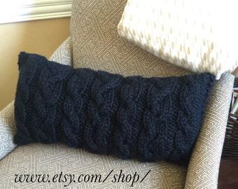Chunky Cable Knit Pillow Cover- Lumbar