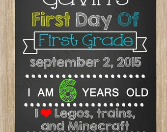 SALE Chalkboard School Sign First Day of School DIGITAL JPEG file