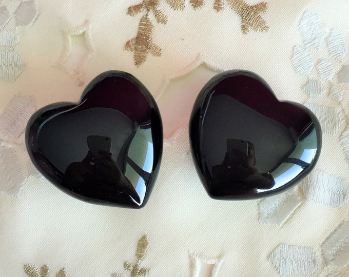 2 Obsidian Black Hearts SET / Protection Amulet / Puffy Hearts