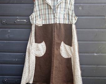 Prairie Dress, Up cycled dress, Restyled Clothing, Altered Clothing, Mori Girl, Sleeveless Dress, Autumn Dress, Indian Summer Size XL-XXL