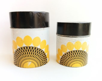 Vintage Kitchen Canisters, Small Decorative Cans