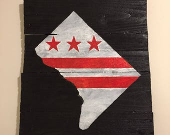 Handmade rustic Washington DC Flag in DC Map outline on reclaimed wood, Pallet art, wall art, cool unique gift