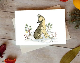 German Shepherd Christmas Card, German Shepherd Holiday Card 5 x 7  Card, Pack of 12, Pack of 24, Blank Card, Dog Christmas Card, Dog Gift