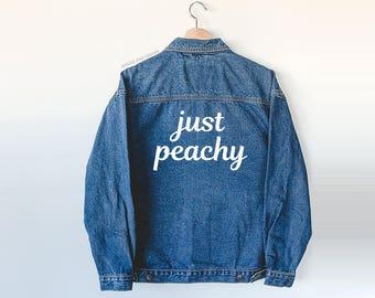Just Peachy Denim Jacket - jean jacket - just peachy - tumblr stuff - graphic jacket - denim jacket - denim coat - jean coat - peachy