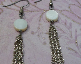 Freshwater Shell and Multi Chain Dangle Earrings-Abby