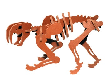 Dinosaur Puzzle, Dinosaur Toy, MINIATURE 3D Dinosaur Skeleton Puzzle, Recyclable PVC Smilodon, ORANGE, Saber Tooth Tiger Toy