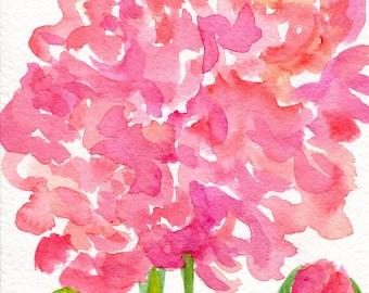 Peony original Watercolors Painting, Peony painting Original Flowers artwork 5 x 7  watercolor painting, Peony artwork SharonFosterArt