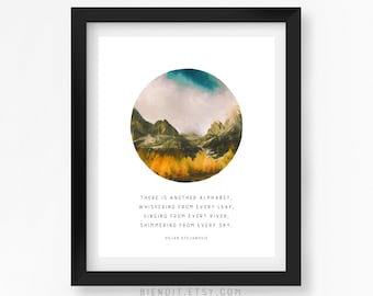 Leaf River Sky, Literary Quote, Nature, Dejan Stojanovic, Another Alphabet, Quote Print, Typography Print, Literary Art, Minimalist Art