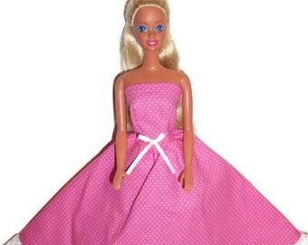 Fashion Doll Clothes-Pink /White Polka Dot Strapless Dress