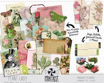 Printable Junk Journal Ephemera Kit - Plant Lady - Botanical Theme for Bible Journaling - Prayer Journal - Faith Planner - DIY Journal