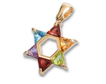 14k Gold Multicolored Star of David Pendant with Semiprecious Stones