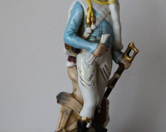 Porcelain Figurine Statue of a Soldier Officer from the Napoleon Bonaparte Army