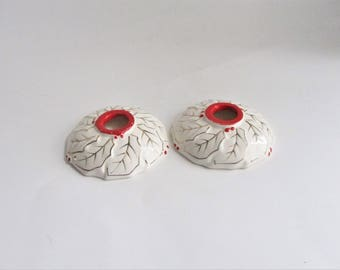 Vintage Christmas Candlestick Holders Set of Two Holly Berry Porcelain Made in Japan