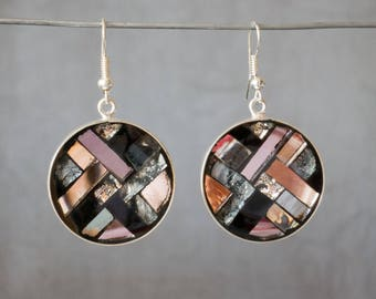 Earrings round geometric graphic mosaic art deco taupe black silver salmon