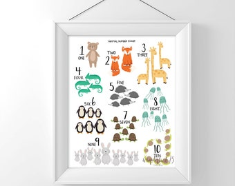 Animal Number Chart 1-10,  art print, illustration, typography, animals, nursery art
