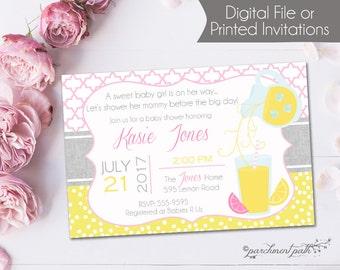 Sweet Pink Lemonade Baby Shower Invitation - Summer Baby Shower - Lemonade Baby Shower - Printable Invitation - Printed Invitations