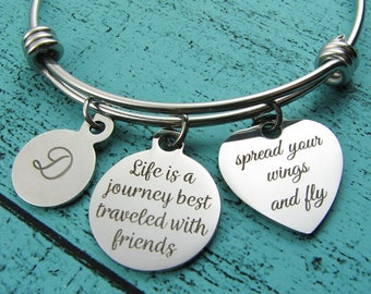 best friend gift, long distance friendship bracelet, bff graduation gift, going away gift for friend, life is a journey, moving away travel