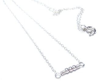 dainty necklace silver necklace minimalist necklace bead delicate necklace