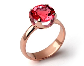 CUP Ruby Engagement Ring, Rose Gold Ruby Ring, Ruby Promise Ring, Large Ruby Ring, Rose Gold Statement Ring, Ruby Solitaire Ring