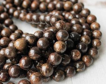 10mm Bronzite, Round Beads, Natural Gemstone, Brown Beads, Earthy Beads, Boho Beads,