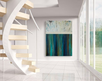 Large Contemporary Abstract Landscape Painting - Northern Lights - 36x48 Original Wall Art on Canvas by CMFA